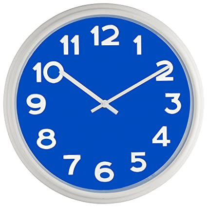 Bernhard Products   Large Wall Clock, 12.5u0026quot; Silent Non Ticking Blue  And White