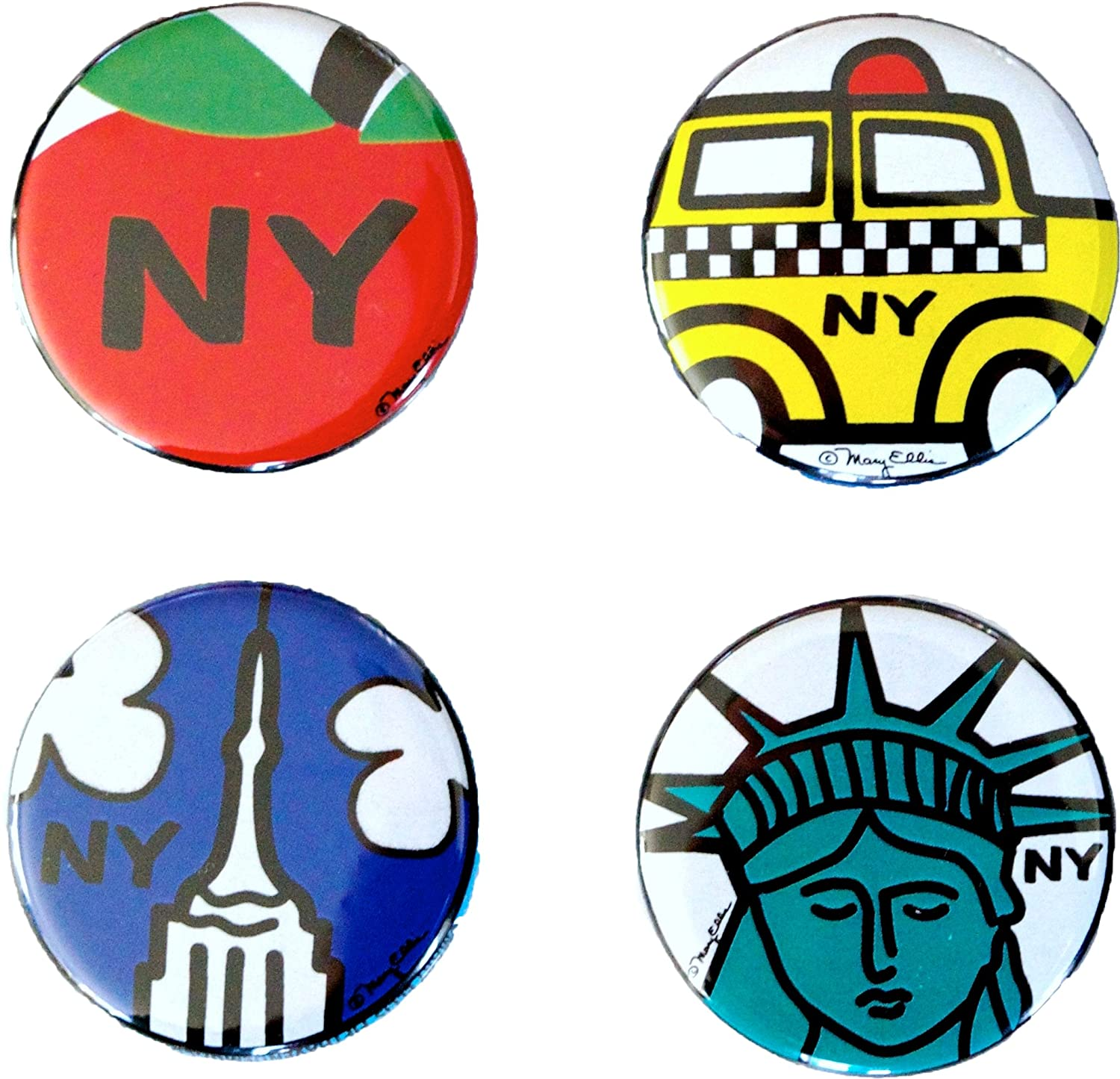 New York Buttons Set of 4 1.25 inch NY City Souvenir Lapel Pins by Mary Ellis