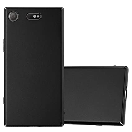 Cadorabo Hülle für Sony Xperia XZ1 COMPACT - Hülle in Metall SCHWARZ – Hardcase Handyhülle im Matt Metal Design - Schutzhülle