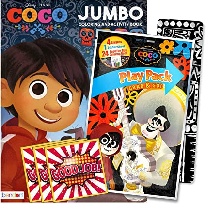 Amazon.com: Disney Coco Coloring Book Set With Stickers, Crayons And  Coloring Activity Book Bundled Includes Separately Licensed GWW Reward  Stickers And Bookmark For Kids: Toys & Games