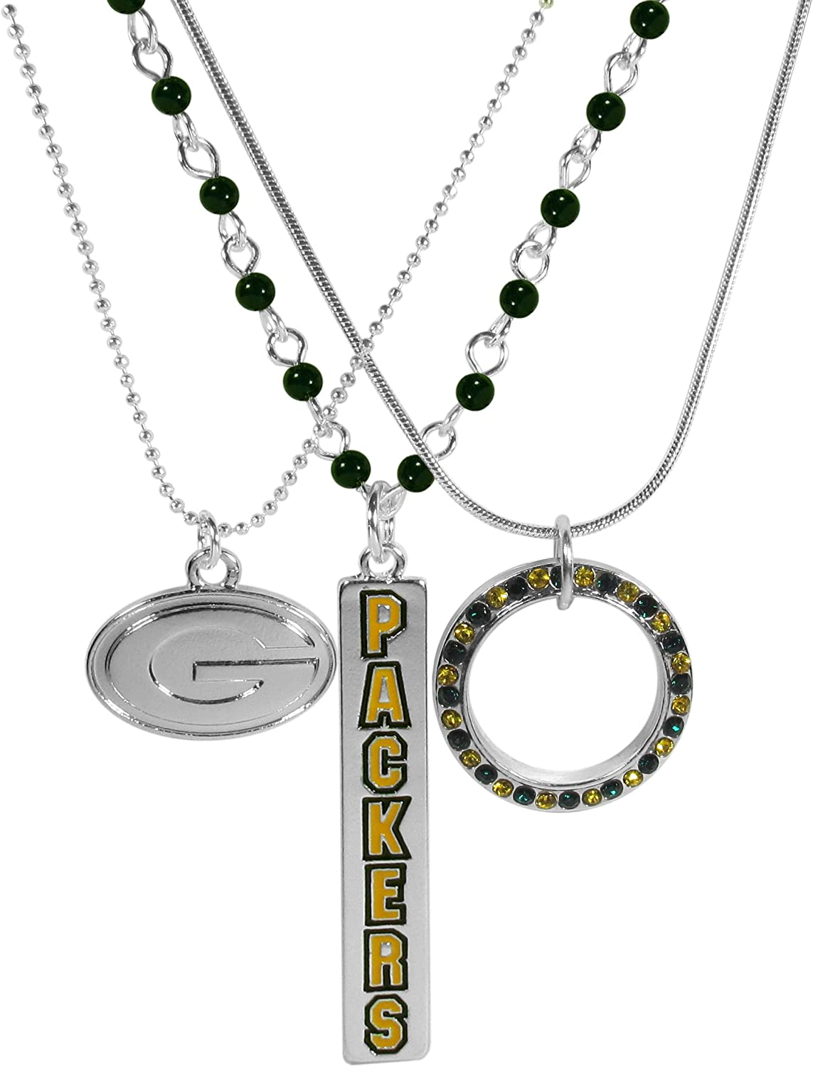 NFL Siskiyou Sports Womens Green Bay Packers Trio Necklace Set 16 inch Team Color