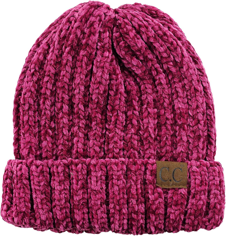C.C Unisex Chenille Soft Warm Stretchy Thick Cuffed Knit Beanie Cap Hat