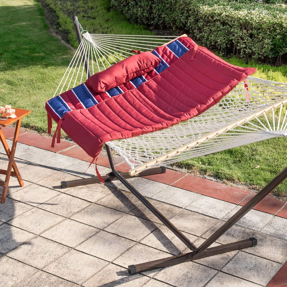 Quilted Polyester Hammock Pad Red//Navy Stripe Mag Bag and Cup Holder Lazy Daze Hammocks 12 Feet Steel Hammock Stand with Cotton Rope Hammock Combo Pillow