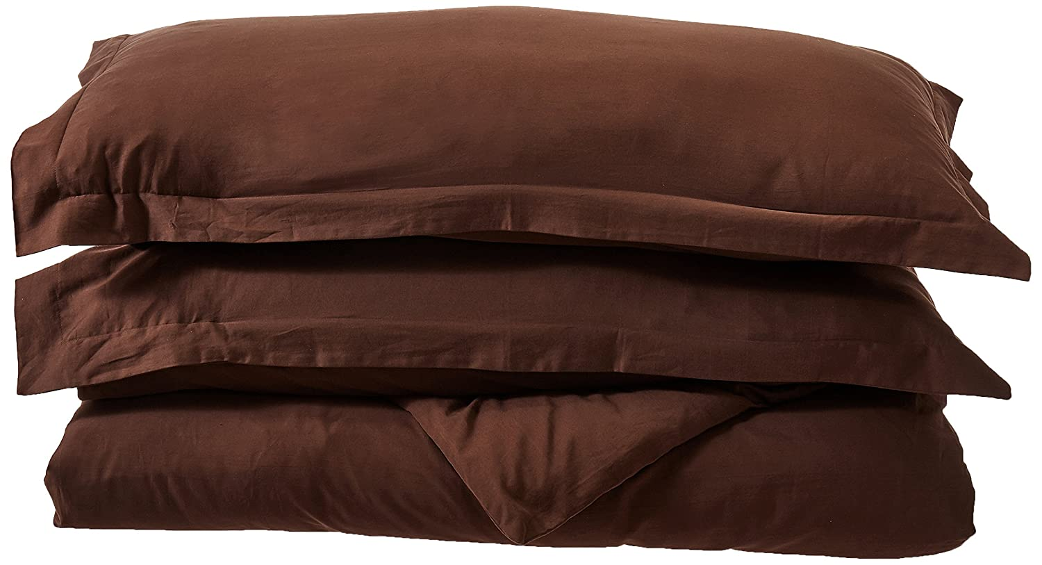 Maghso KD400C 400 Thread Count King Size 3PC Duvet Cover Set 100/% Egyptian Cotton with Button Enclosure Brown