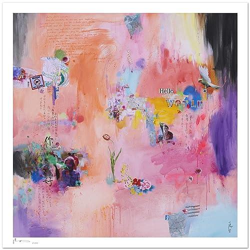 Reproducción de arte - Hello world - sobre papel de acuarela 300g/m² con textura, de alta calidad: Amazon.es: Handmade