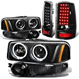 GMC Yukon 4pc Pair of Black Housing Amber Corner Halo Projector Headlight + Black Clear Lens LED Tail Light