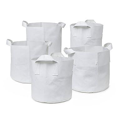 247Garden Aeration Fabric Pots/Plant Grow Bags w/Handles (1-Gallon, White, 5-Pack) : Garden & Outdoor