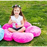 "Girls Flower Floor Pillow Seating Cushion, for a Reading Nook, Bed Room, or Watching TV. Softer and More Plush Than Area Rug or Foam Mat. 20"" Hot Pink"