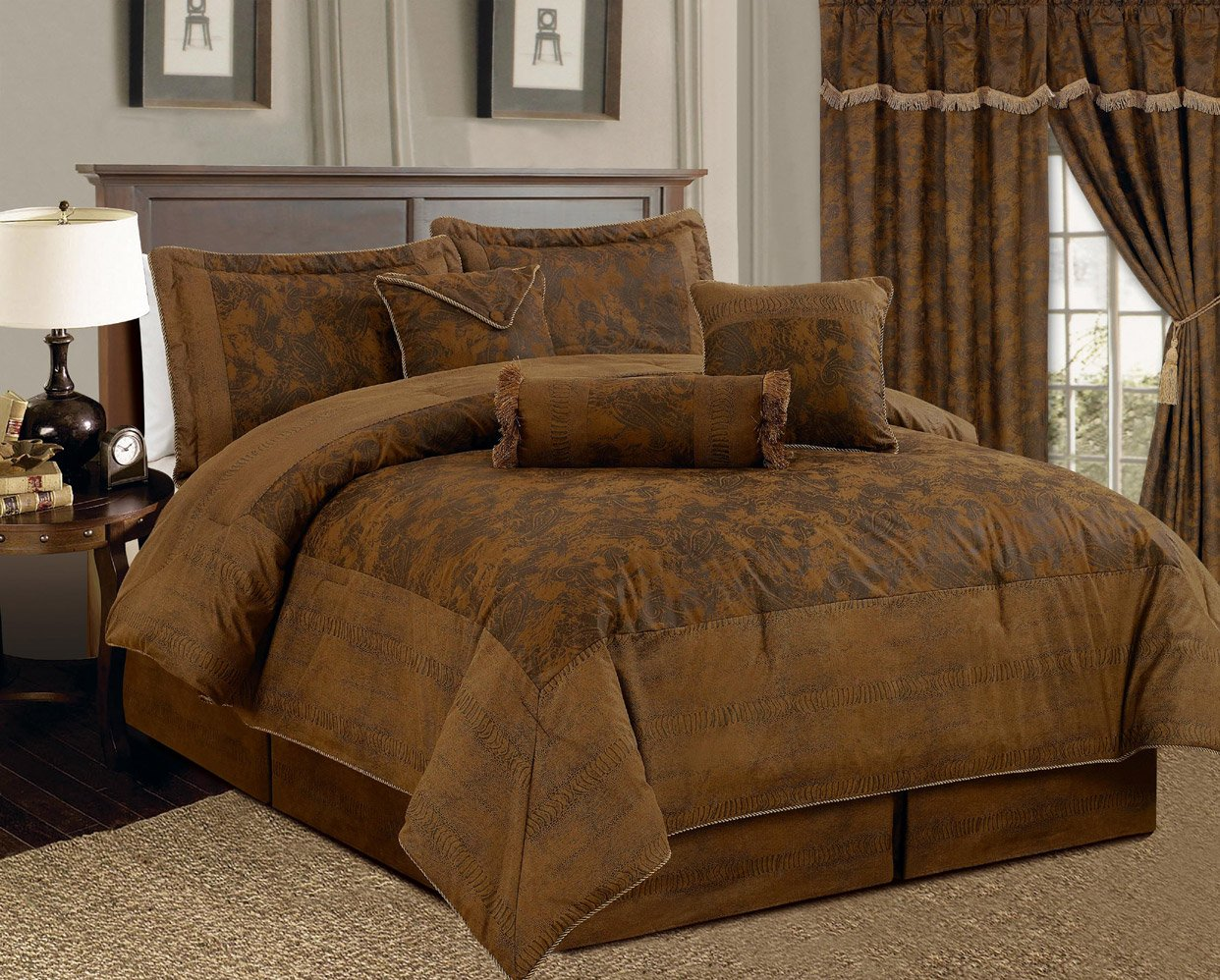 Amazon com 7 piece dark camel brown lavish oversize 106x 94 comforter set micro suede bed in a bag california king size bedding home kitchen