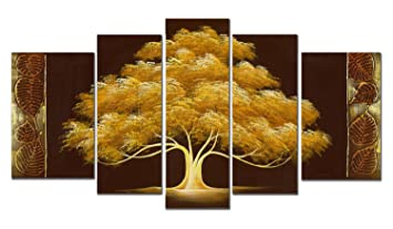 Wieco Art Golden Tree Large 5 Panels Modern Flowers 100 Hand Painted Stretched And Framed Abstract Life Floral Oil Paintings On Canvas Wall Art Work