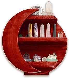 MMOBILITY CHAMAMA Moon Shelf, Essential Oil Shelf, Moon Wall Decor, Crystal Display Shelf, Moon Shaped Shelf for Crystals, Moon Decor, Wooden Moon Shelf, Bathroom Decor, Crystal Shelf (Barn Red)