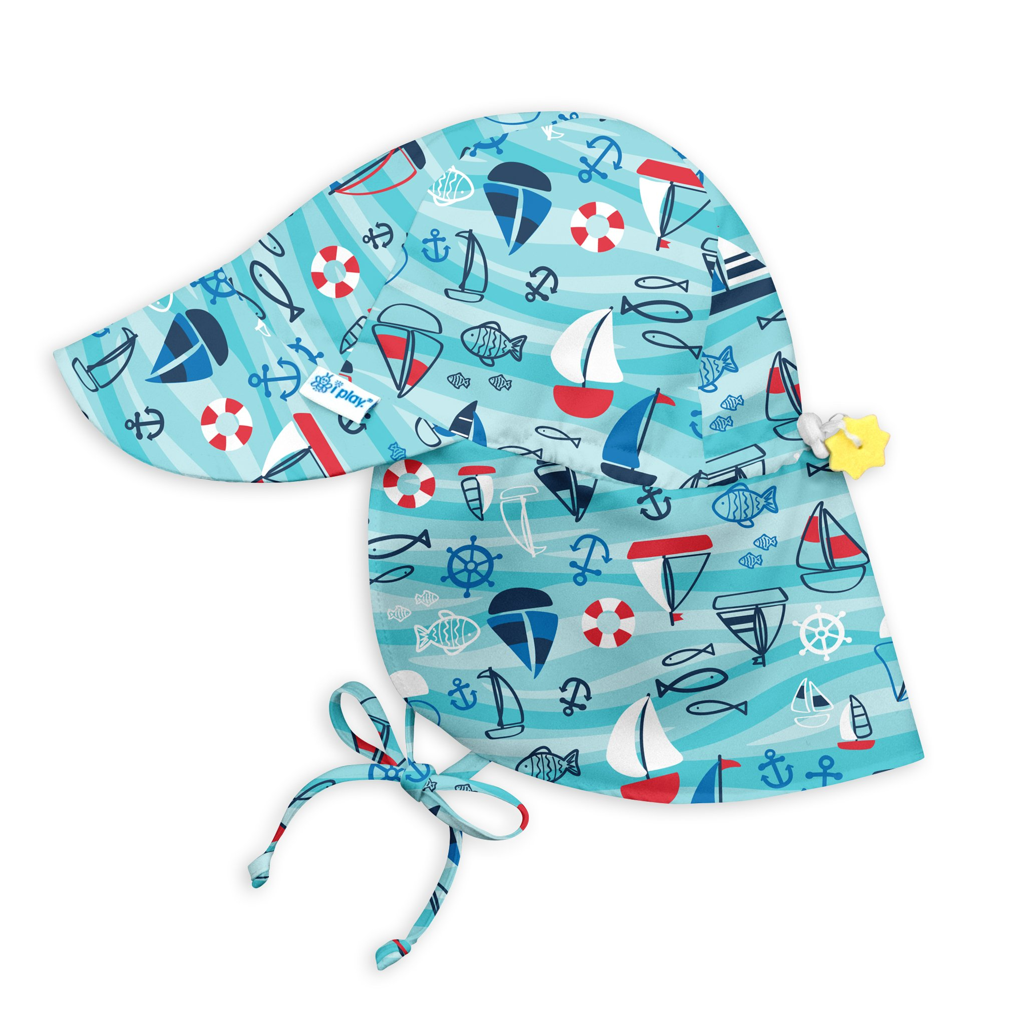 i play... Toddler Boys' Flap Sun Protection Hat, Aqua Wavy Boats, 2T/4T