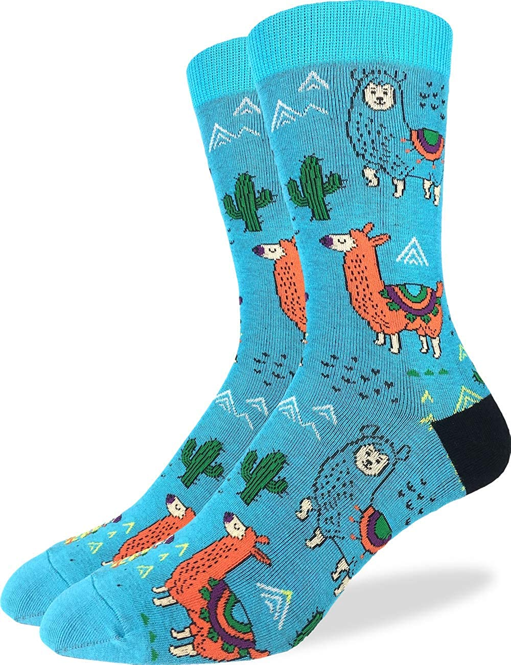 Good Luck Sock Men's Extra Large Fun Llamas Socks, Size 13-17, Big & Tall