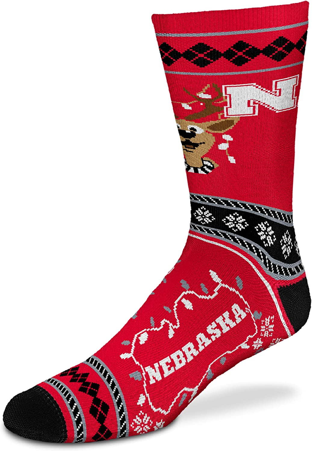 For Bare Feet NCAA Sweater Stripe Holiday Crew Socks