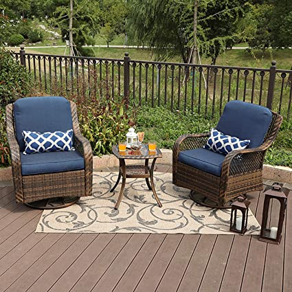 Amazon Com Phi Villa 3 Piece Patio Furniture Set Outdoor Rattan Rocker Conversation With 1 Table And 2 Rocking Swivel Chairs Support 350lbs Garden