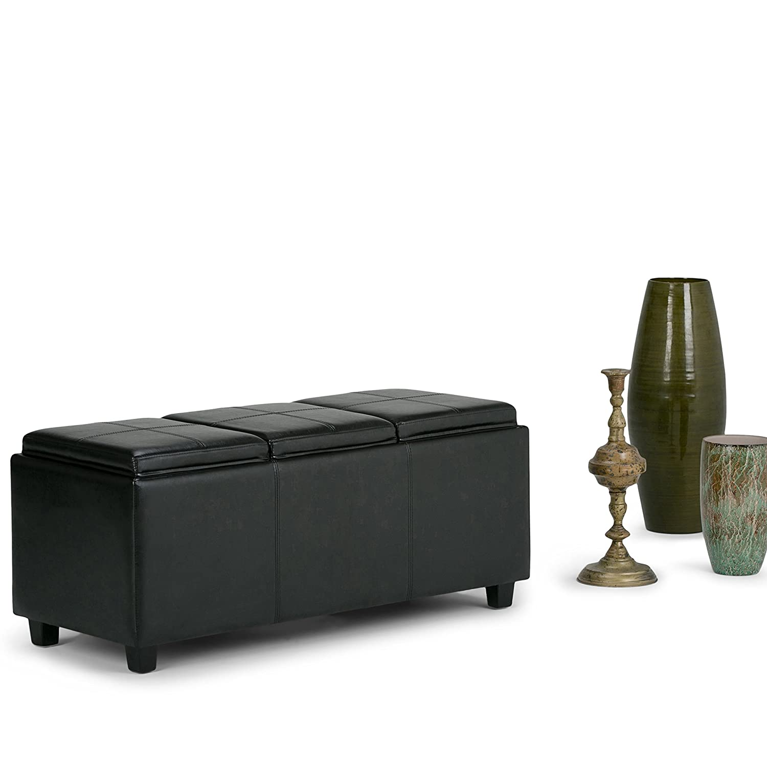 Amazon.com: Simpli Home Avalon Faux Leather Rectangular Storage Ottoman  With 3 Serving Trays, Large, Black: Kitchen U0026 Dining