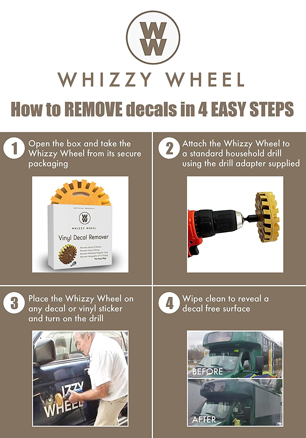Amazoncom Whizzy Wheel Car Decal Remover With Drill Adapter Kit - Vinyl decals for cars removal