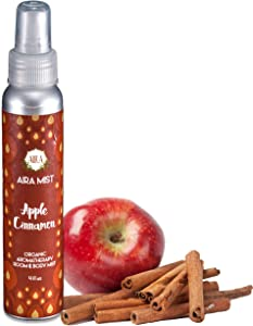 Aira Mist Apple Cinnamon Organic Room Spray - Essential Oil Spray with Organic Ingredients & Therapeutic Essential Oils - Living Room Spray Free of Alcohol & Parabens - Home Fragrance - 4 Ounces
