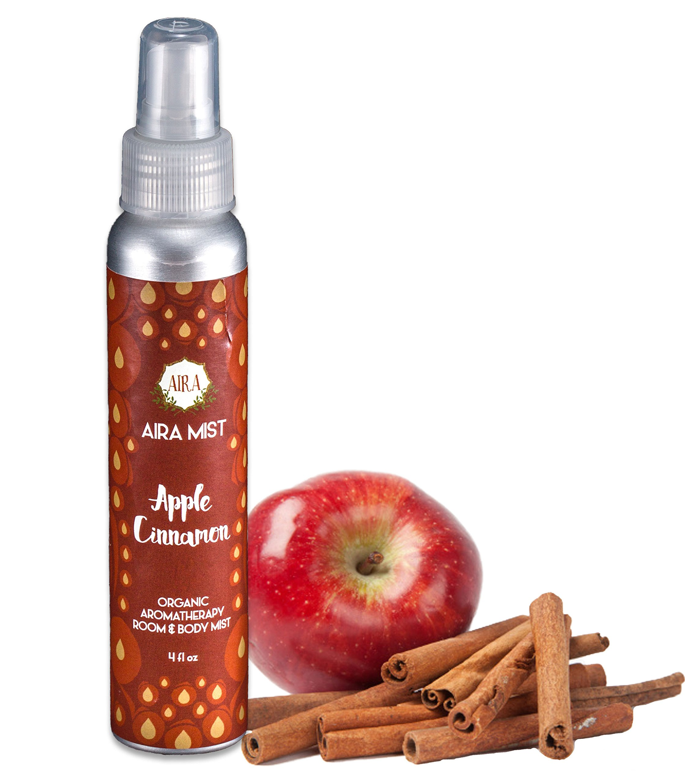 Aira Mist Apple Cinnamon Organic Room Spray - Essential Oil Spray with Organic Ingredients & Therapeutic Essential Oils - Living Room Spray Free of Alcohol & Parabens - Home Fragrance - 4 Ounces by Aira