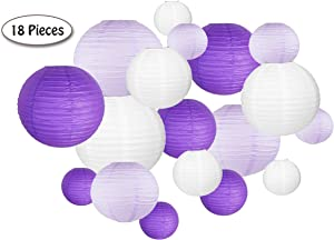 18 Pc Paper Round Lantern for Birthday Bridal Wedding Baby Shower Festival Party Decoration - Great for Indoor or Outdoor (Purple)