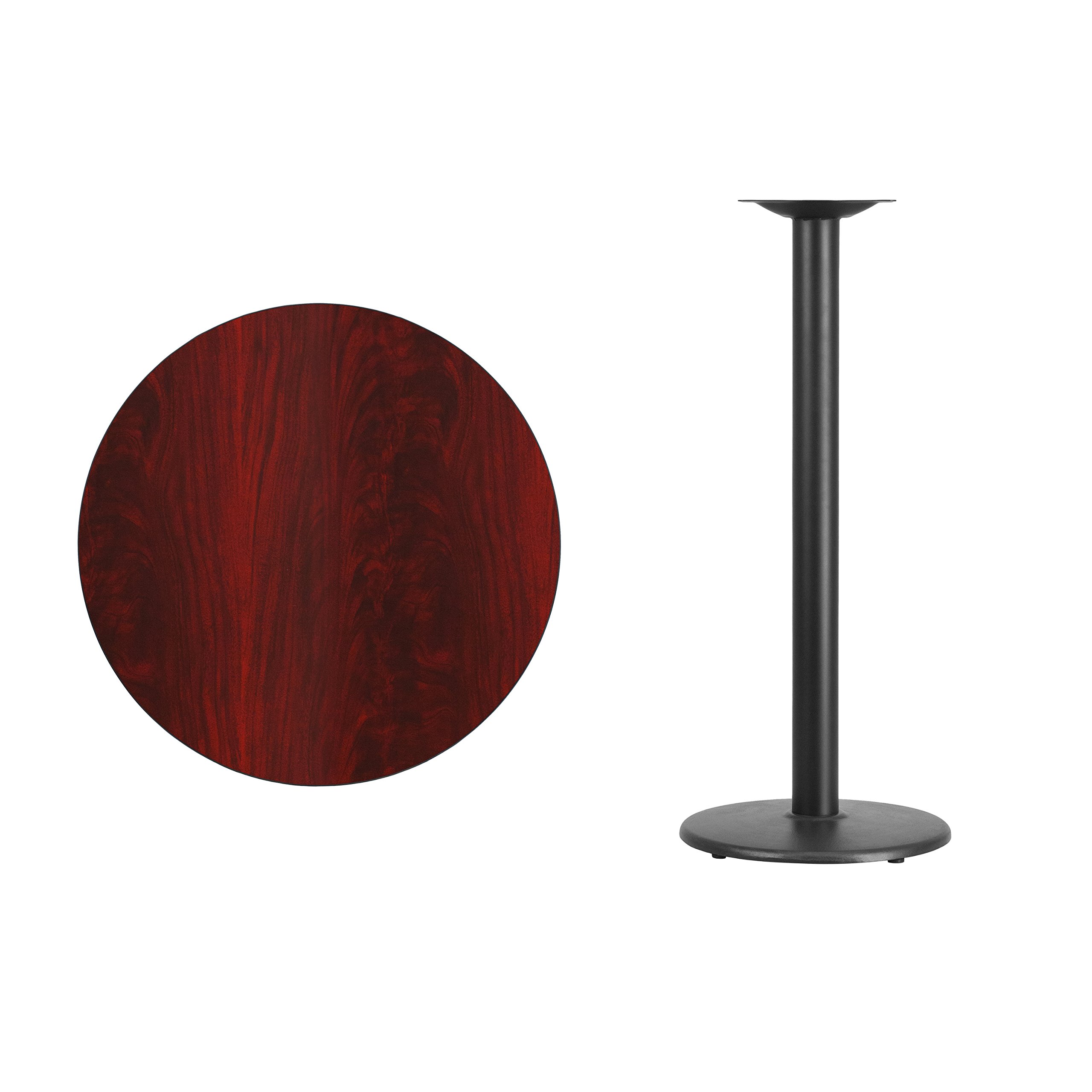 Flash Furniture 30'' Round Mahogany Laminate Table Top with 18'' Round Bar Height Table Base