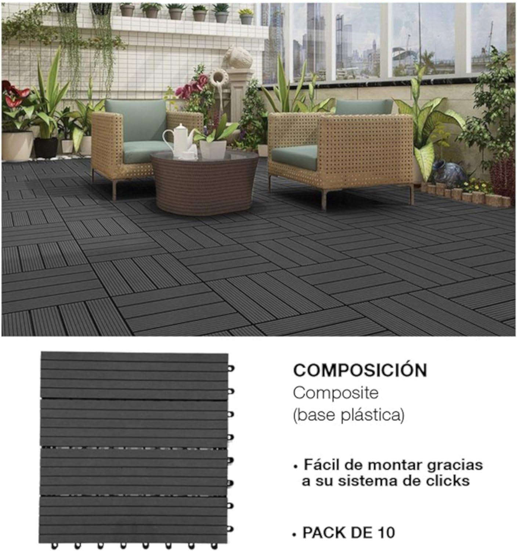 Comercial Candela 10 Unidades Baldosas Jardín para Terraza, Balcón, Suelo Exterior 31x31 cm 1 m²