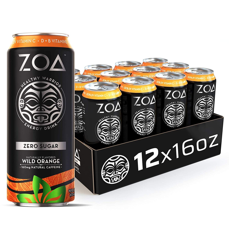 ZOA, Zero Sugar Energy Drink, Wild Orange, 16 fl. oz. (Pack of 12) - Supports Healthy Immunity, Focus, Hydration, Body & Energy - 100% DV Vitamins C, B6 & B12