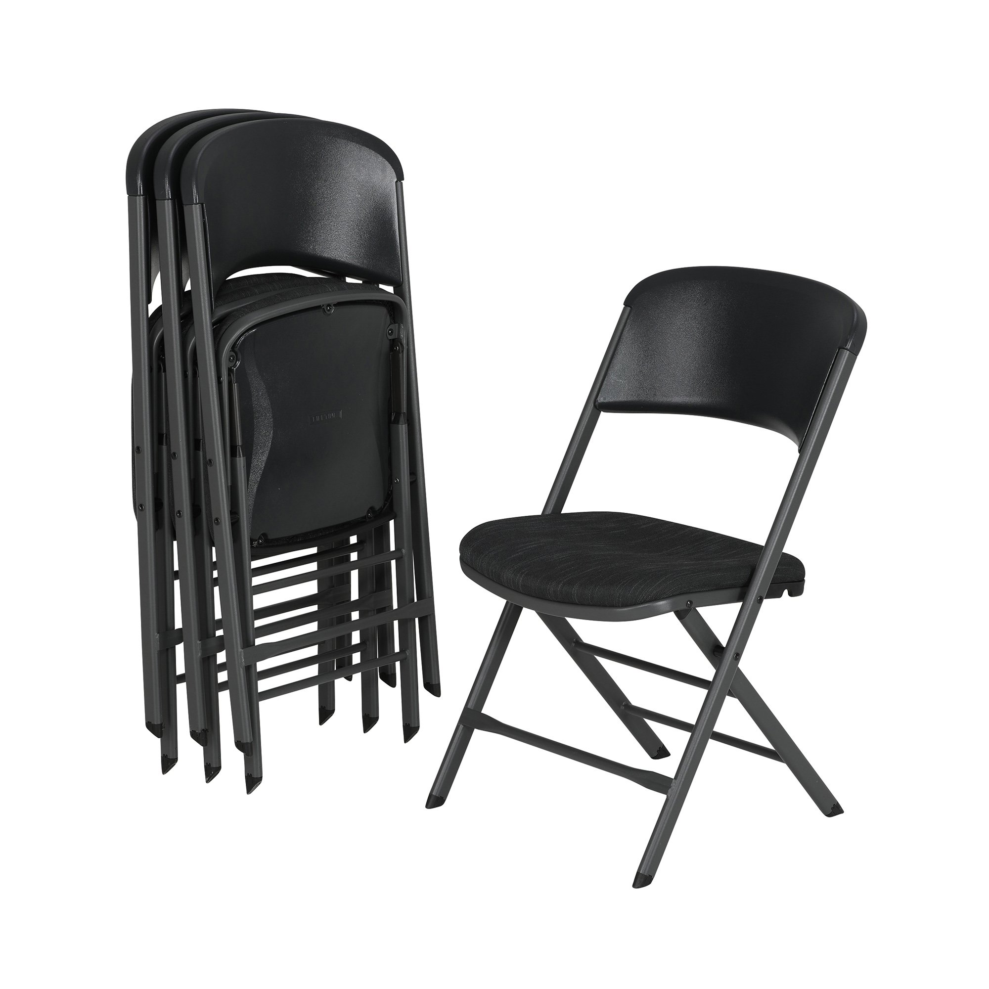 Lifetime 480621 Contemporary Padded Folding Chairs (4 Pack), Charcoal Gray