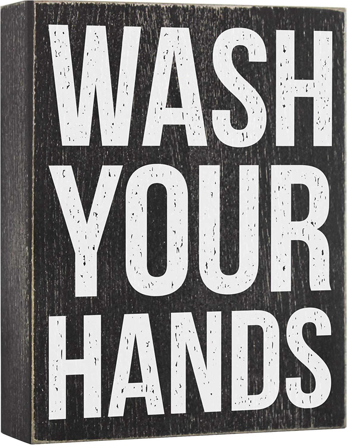 Wash Your Hands Sign - Bathroom Signs Decor - Kitchen Farmhouse Wooden Box Wall Art