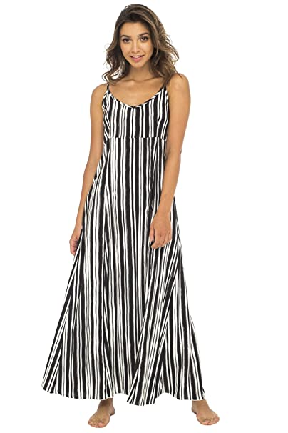 614fa28cb0 Back From Bali Womens Sleeveless Summer Maxi Dress, Long Casual Striped  Sexy Beach Dress Black