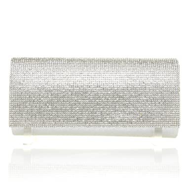 c4466c31a BRITNEY Diamante Fold Over Silver Shimmer Bar Clutch Bag with Chain ...