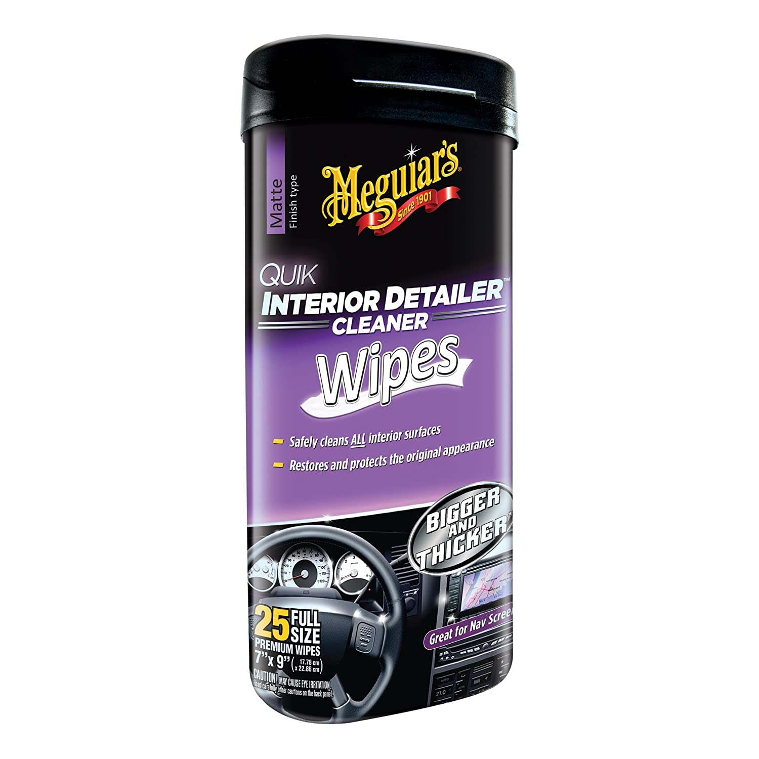 Meguiar's G13600 Quik Interior Detailer Cleaner Wipes, 25 Pack