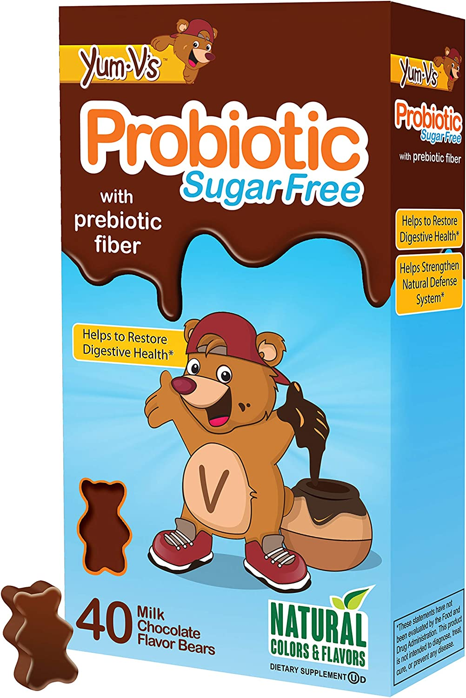 YUM-V's Probiotic for Kids, Milk Chocolate Flavor (40 Ct); Children's Daily Dietary Supplement Chewables with Prebiotic Fiber, Sugar Free, Kosher, Halal, Gluten Free