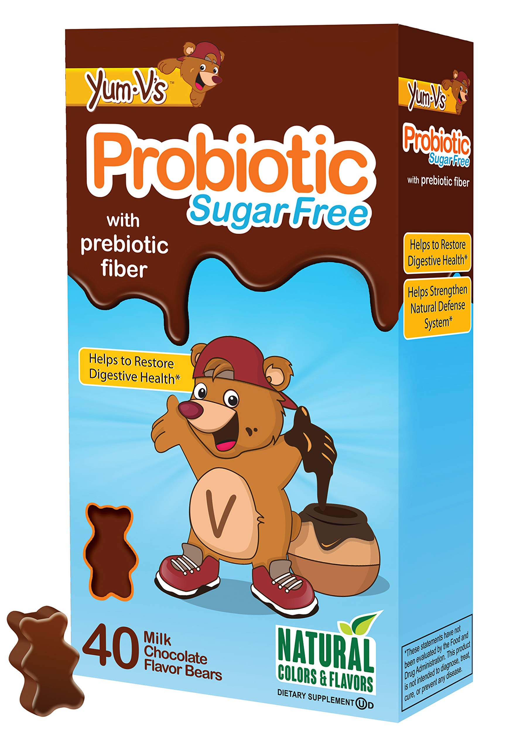 YUM-V's Probiotic for Kids, Milk Chocolate Flavor (40 Ct); Children's Daily Dietary Supplement Chewables with Prebiotic Fiber, Sugar Free, Kosher, Halal, Gluten Free
