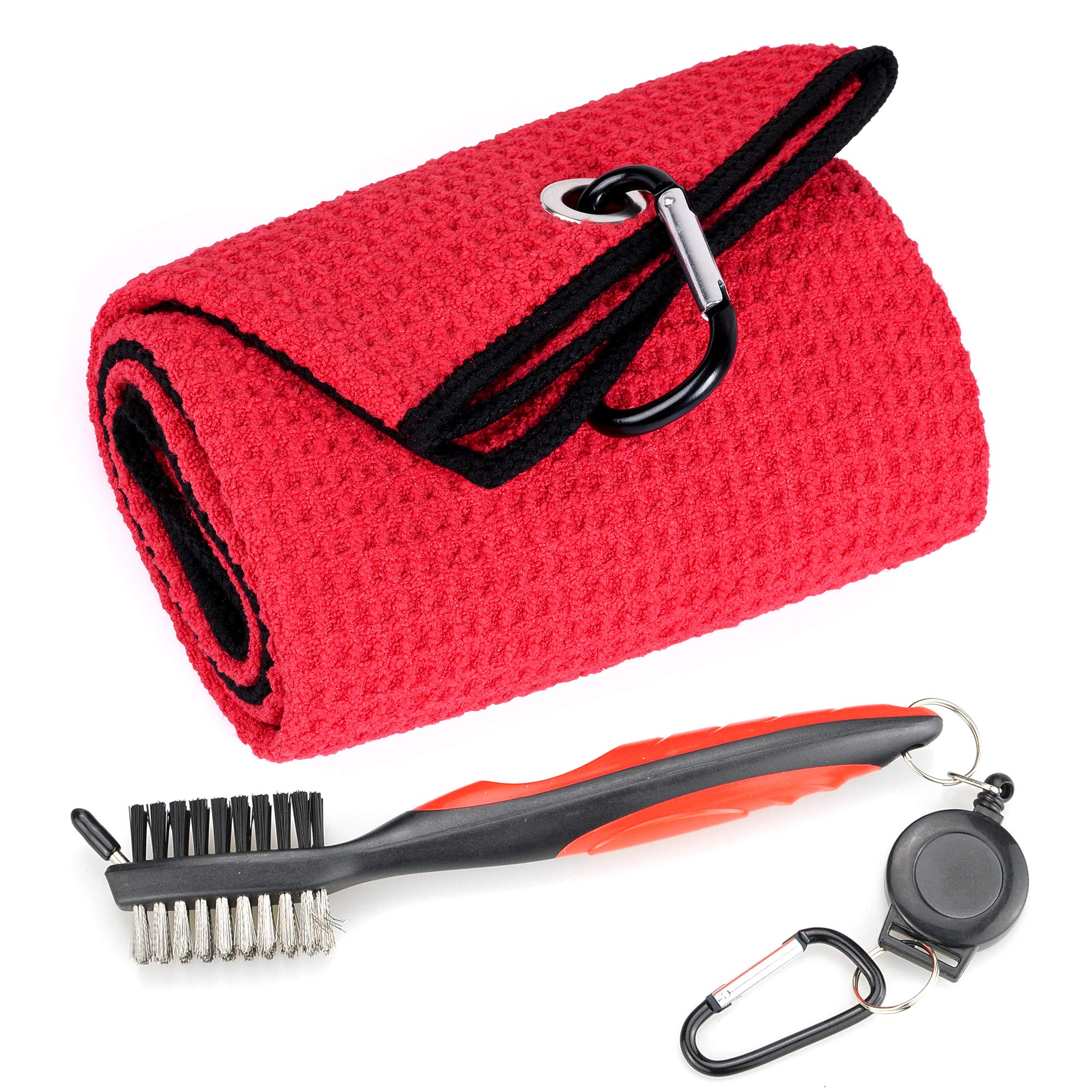 Mile High Life Microfiber Waffle Pattern Tri-fold Golf Towel | Brush Tool Kit with Club Groove Cleaner, Retractable Extension Cord and Clip (Red Towel+Red Brush) by Mile High Life