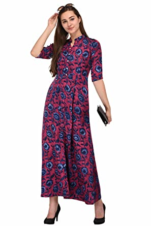 bcf03c708506b1 SWAGG INDIA Women's Crepe Printed Long Tunic Maxi Dress (Violet, Medium)