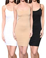 3 Pack: Women's Seamless Stretchy Spaghetti Strap Mini Dresses Assorted One Size
