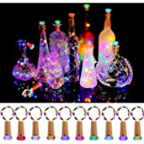KZOBYD Wine Bottle Lights with Cork 10 Pack Fairy Battery Operated Mini Lights Diamond Shaped LED Cork Lights for Wine…
