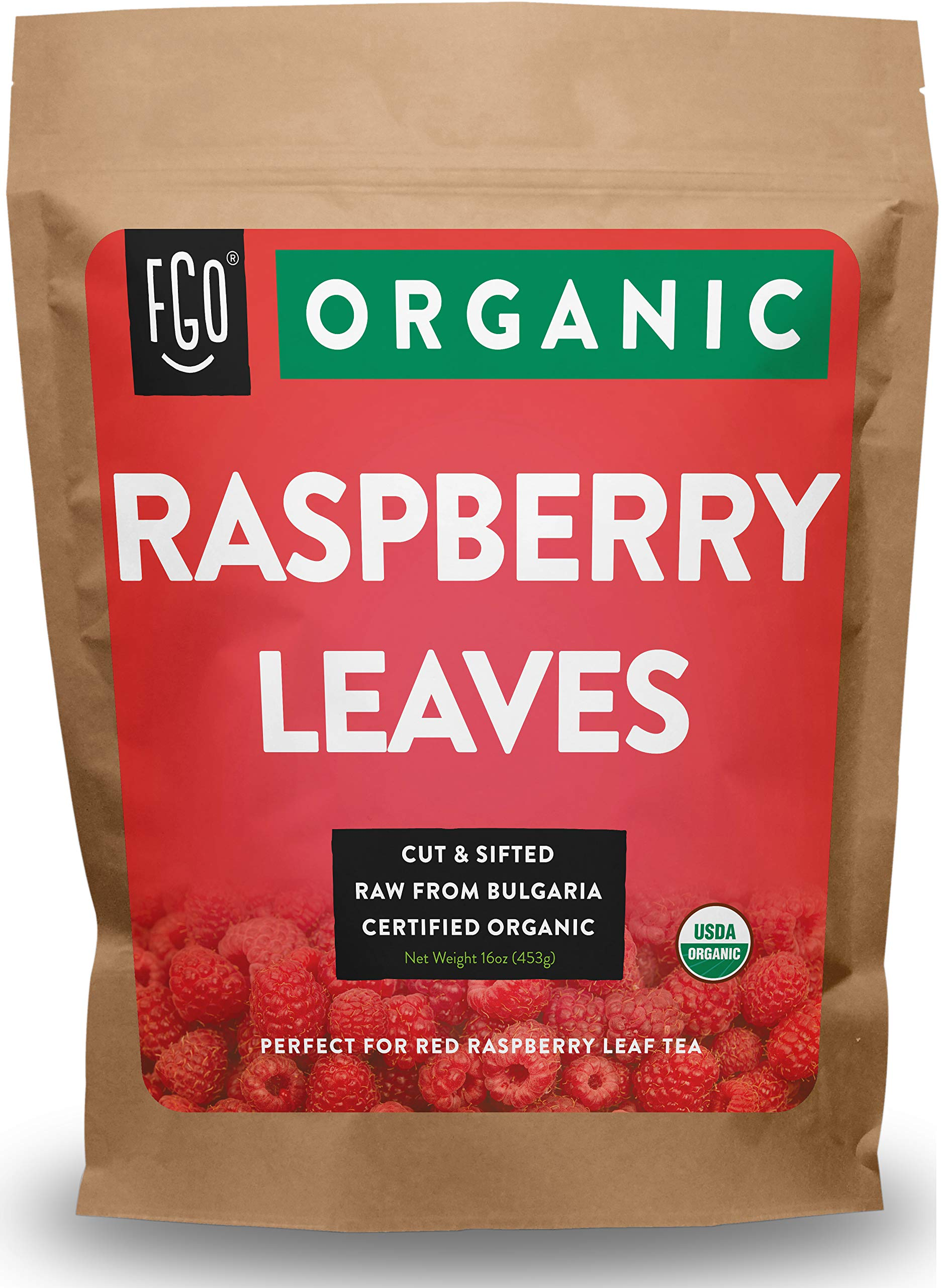 Organic Red Raspberry Leaf - Herbal Tea (200+ Cups) - Cut & Sifted Leaves - 16oz Resealable Bag (1lb) - 100% Raw From Bulgaria