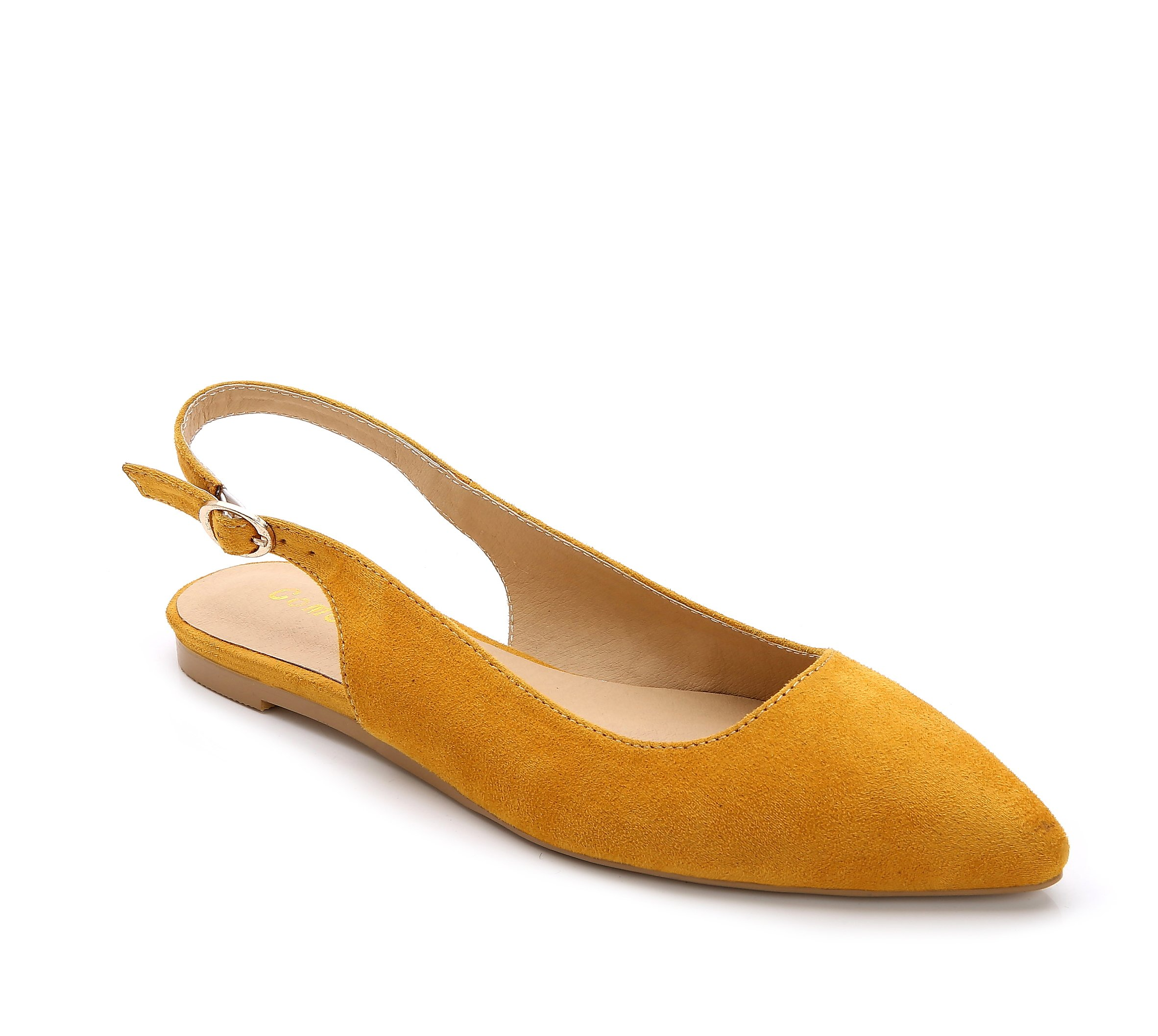 ComeShun Yellow Womens Comfort Low Flat Sandals Adjustable Buckle Slip On Dress Pumps Suede Shoes Size 10