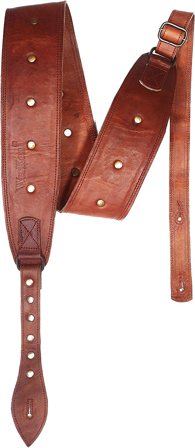 """WerKens Genuine Leather Guitar Strap 3"""" Inch Wide Adjustable Guitar Straps - Brown with Antique Brass Studs Vintage Rock Padded Guitar and Bass Strap"""