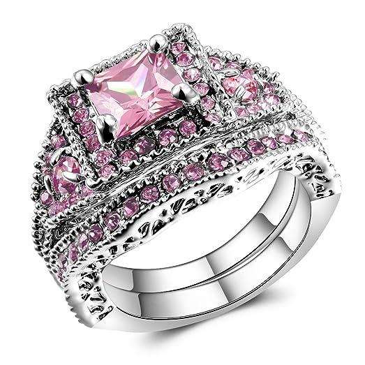 2 pieces pink womens engagement wedding rings set us size 5 11 - Pink Wedding Ring Set