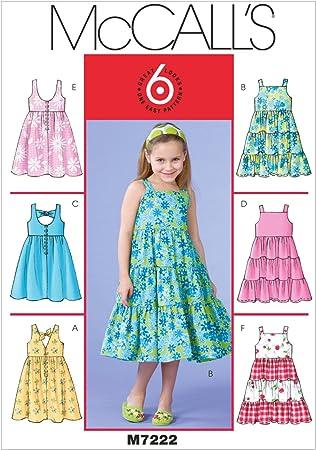 McCall/'s 7770 patrón de costura para hacer forrado niñas vestidos con escote variaciones