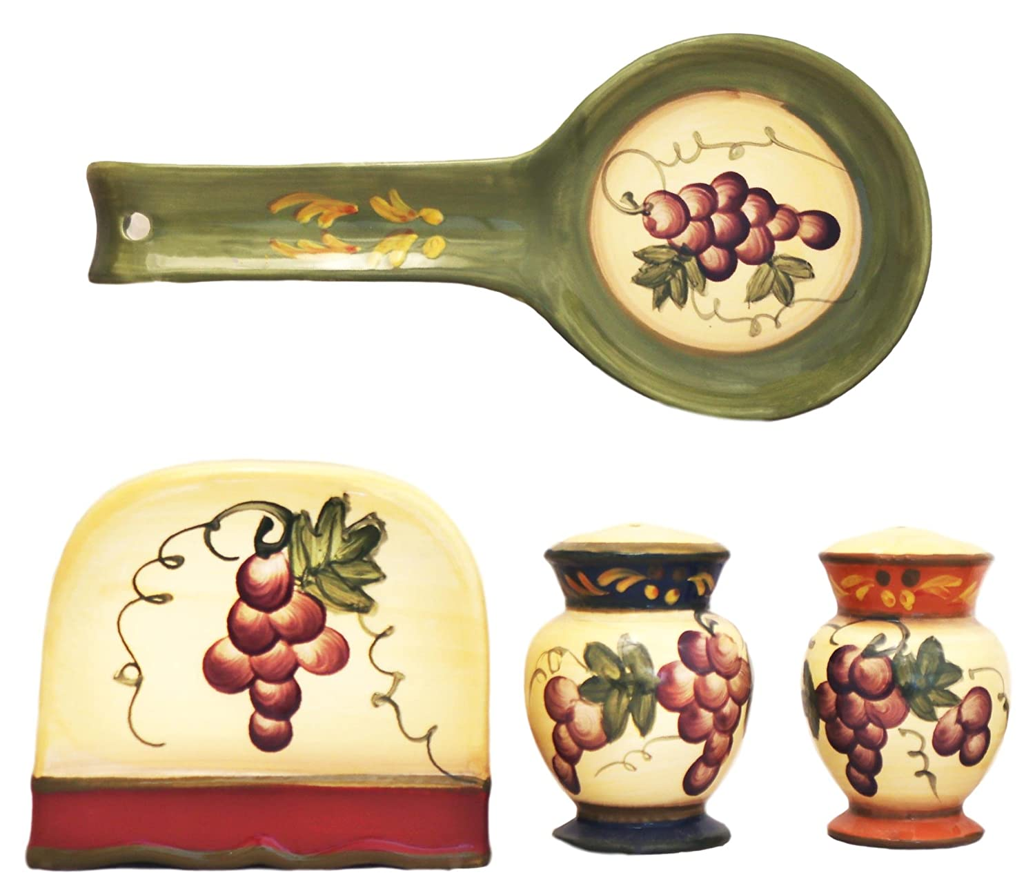 Tuscany Colorful Grapes Hand Painted Table Top set, 84025/28 by ACK