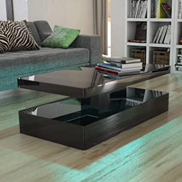Black High Gloss Coffee Table Led Lights Modern Design Amazon