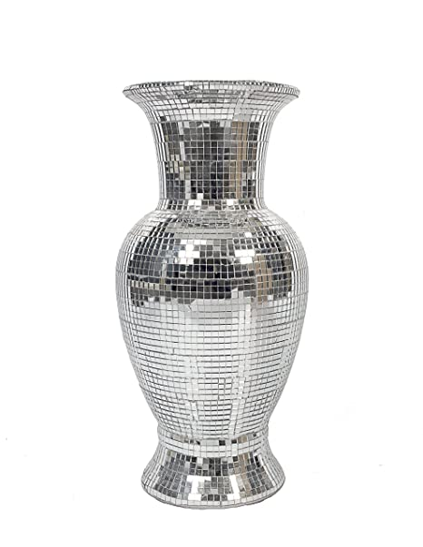Contemporary Silver Mirrored Glass Mosaic Vase Amazon
