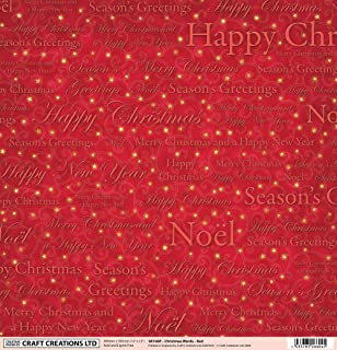 5 sheets 12 x 12 christmas words and scrolls on red craft creations