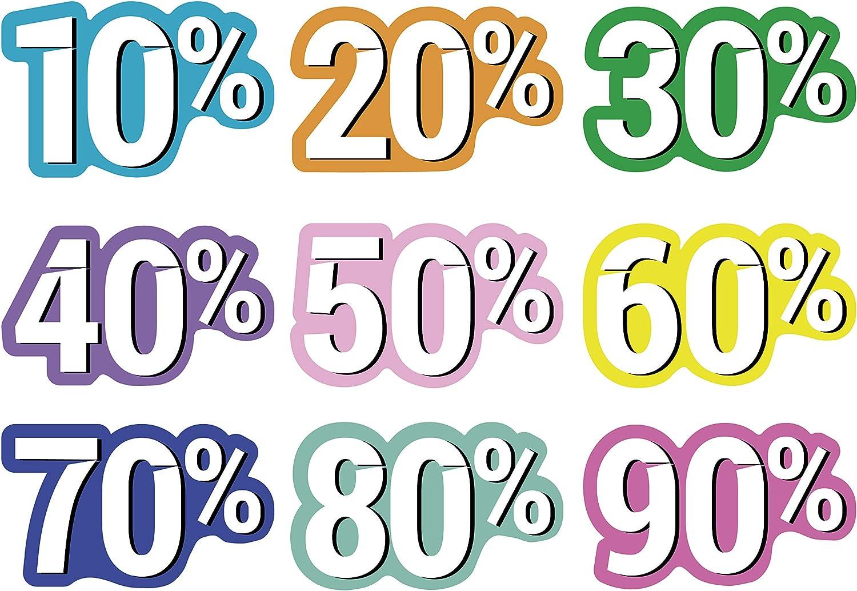Oedim Pack 9 Vinilos para Escaparates Decoración Rebajas | Descuentos del 10% hasta el 90% | 50x30cm | Vinilo Adhesivo | Decora tu escaparate | Pegatinas Adhesivas Escaparate | Vinilos para Negocios