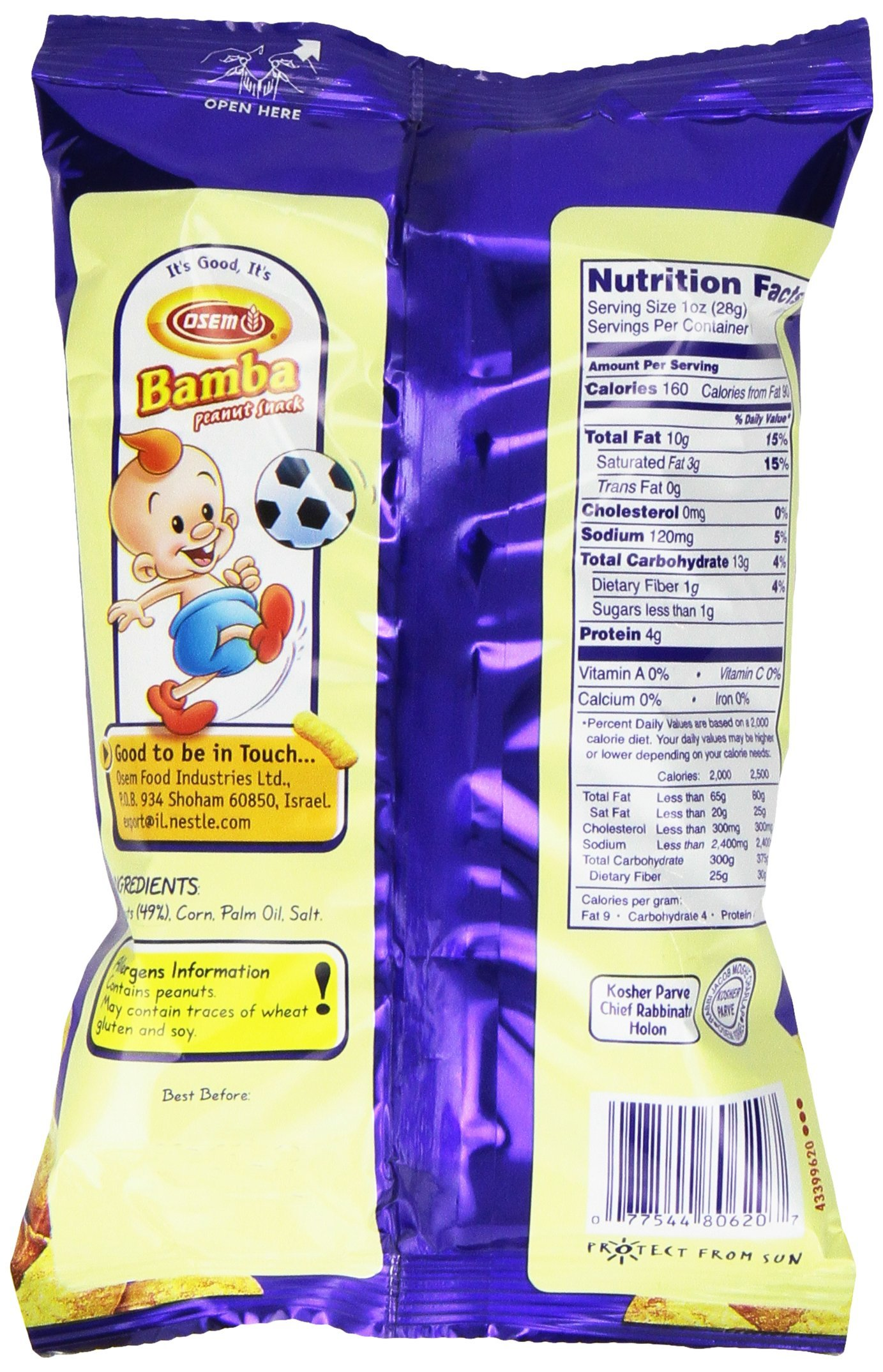 Bamba Peanut Butter Snacks All Natural Peanut Butter PB Corn Puffs, 1.0oz Bag (Pack of 1) by Osem (Image #4)