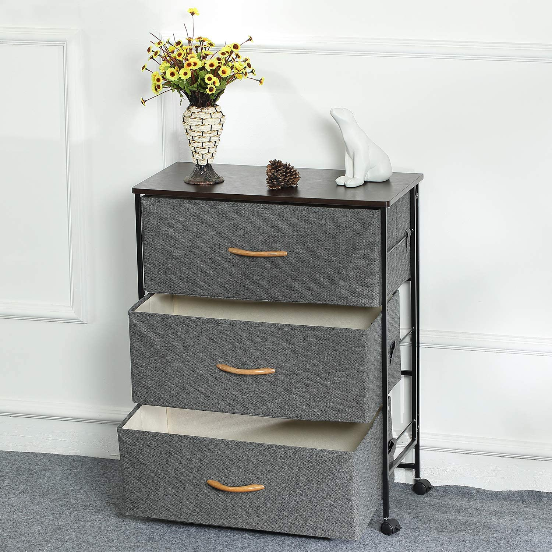Hallway ARCALT Fabric Storage Cabinet 2 Drawers Storage Organizer Unit for Bedroom Grey